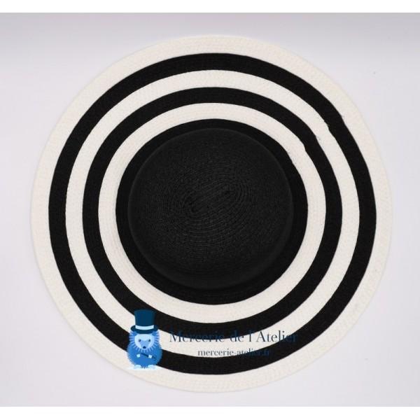 Capeline papier - Noir et Blanc à rayures